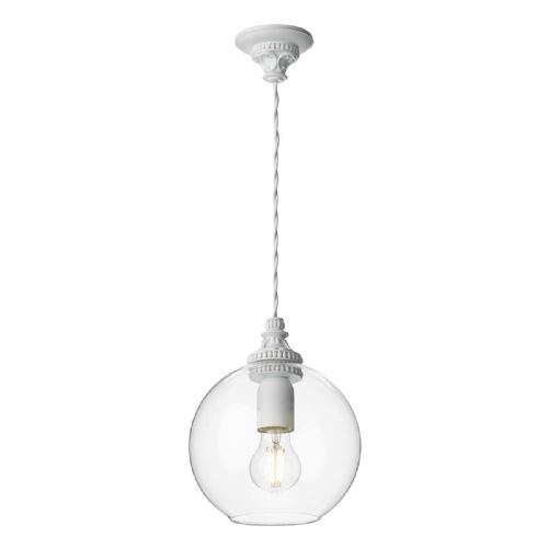 Pearl 1 Light Pendant White + Round Glass PEA0102 (7-10 day Delivery) (Double Insulated)